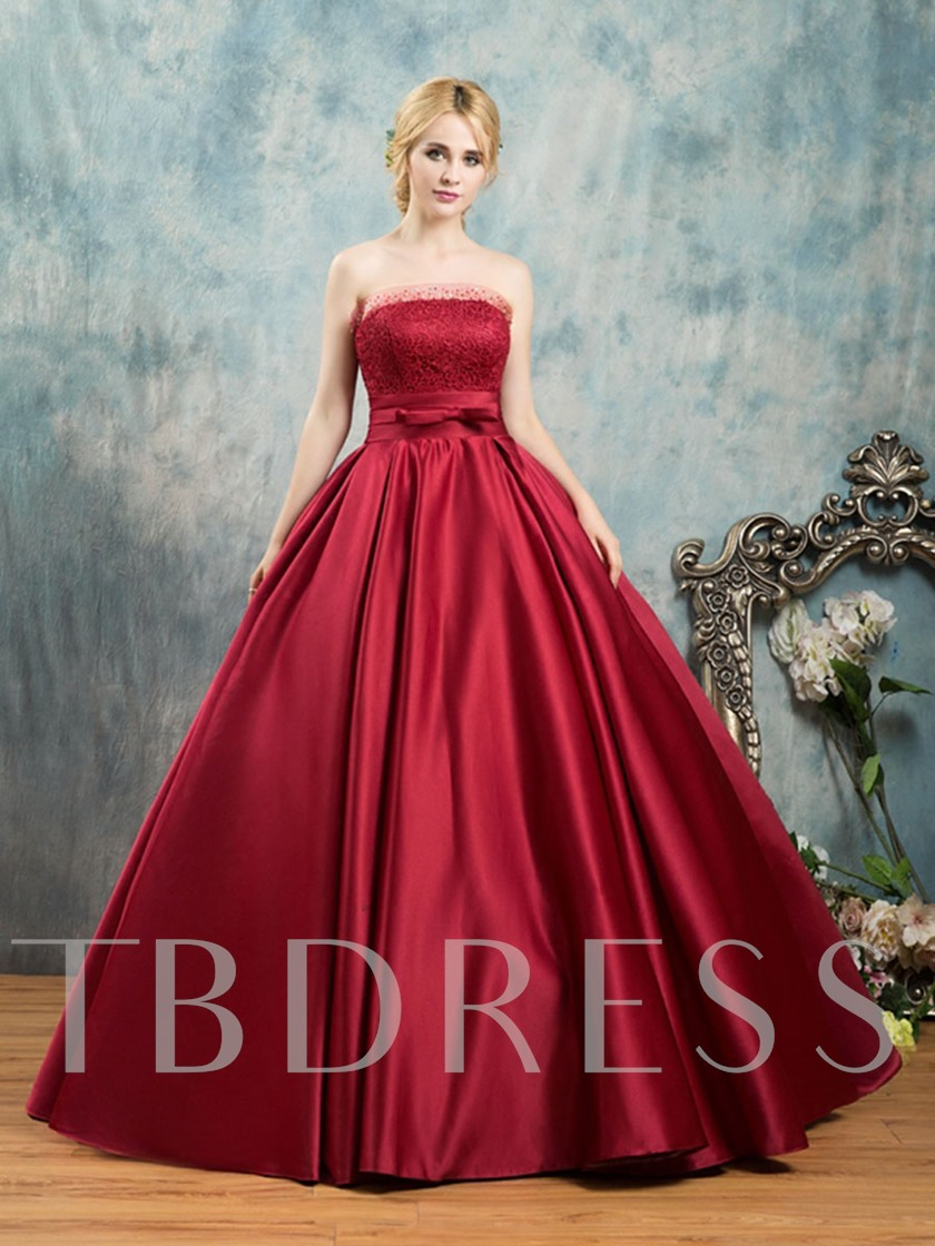 Strapless Bowknot Lace Sashes Quinceanera Dress
