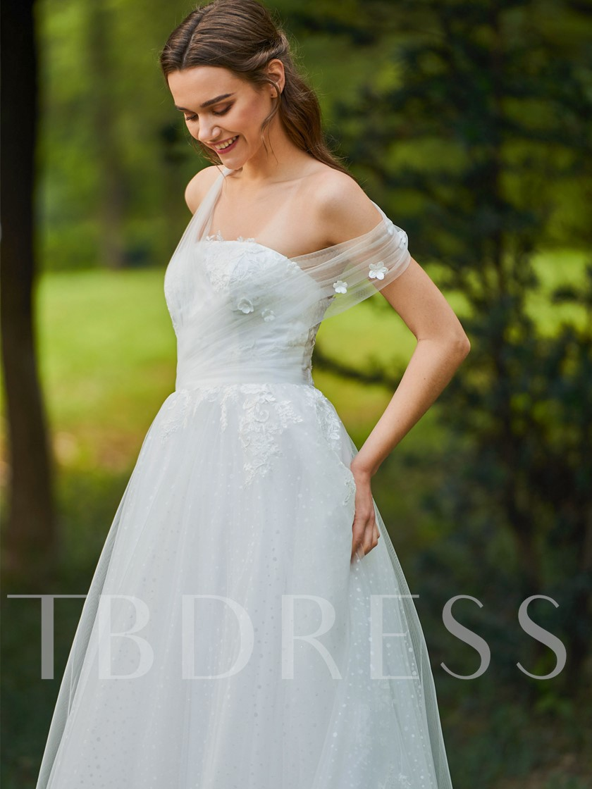 One Shoulder Appliques Flowers Wedding Dress