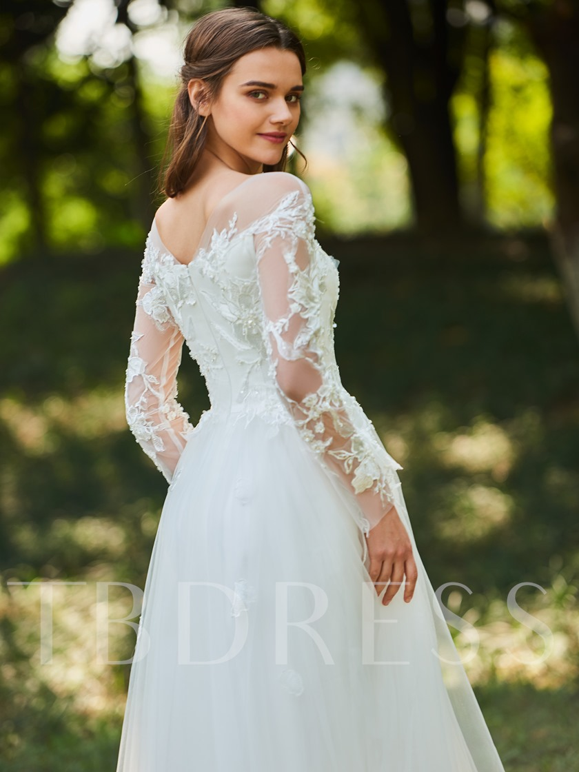 Sheer Neck Appliques Beaded Long Sleeve Wedding Dress