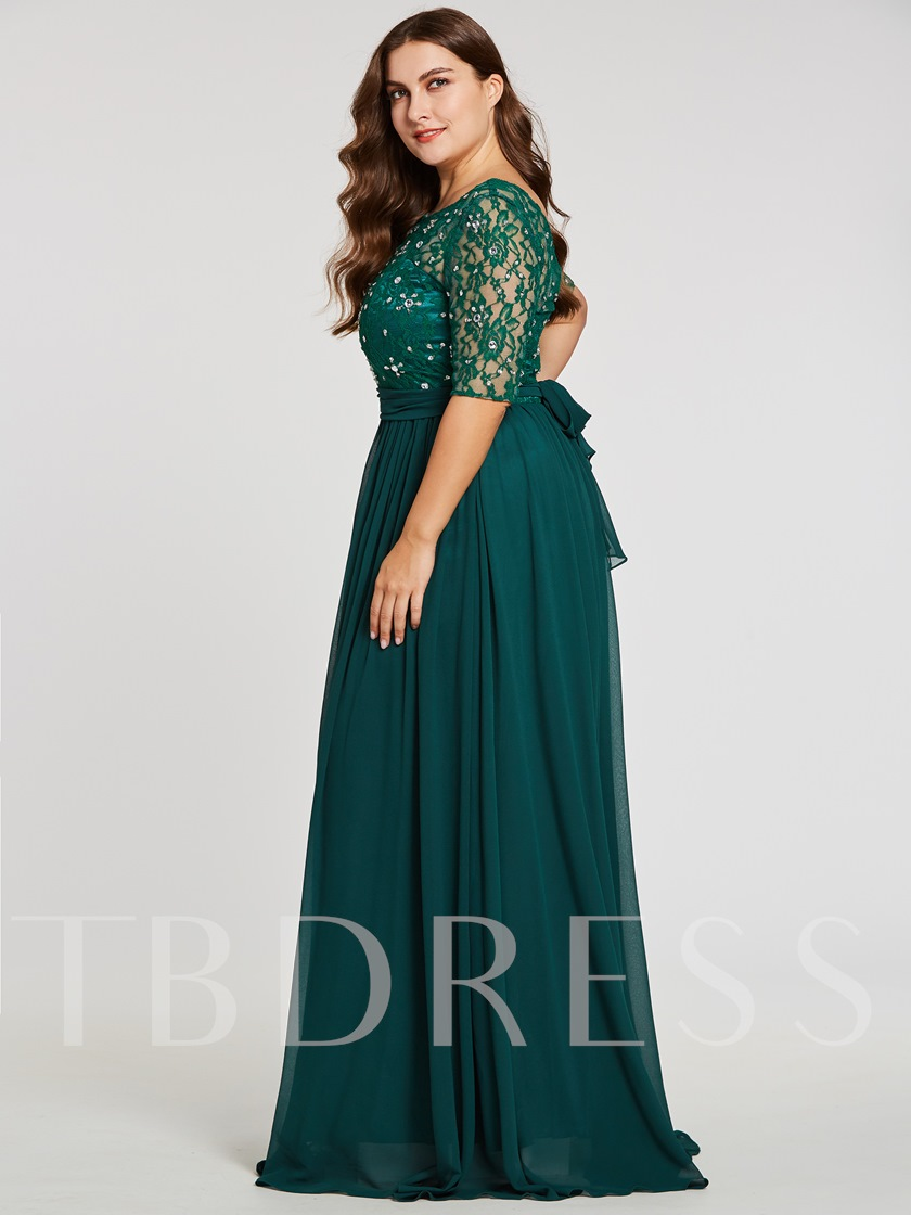 Scoop Neck Half Sleeves Beaded A Line Plus Size Evening Dress