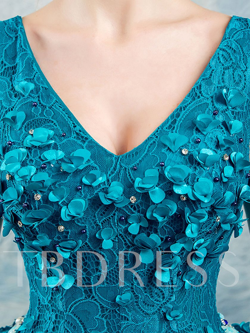 V-Neck Beading Flowers Lace Quinceanera Dress
