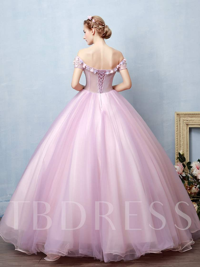 Appliques Flowers Off-the-Shoulder Quinceanera Dress