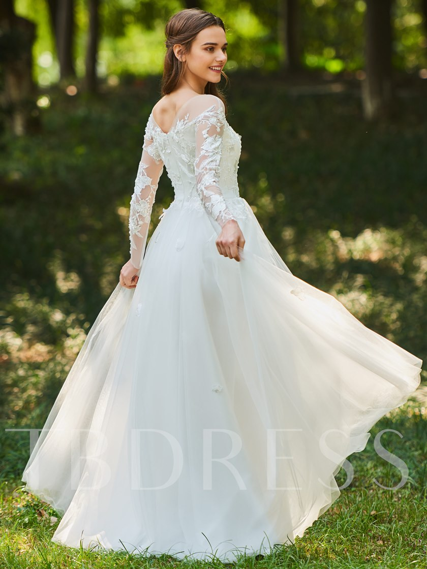Sheer Neck Appliques Beaded Long Sleeve Wedding Dress Tbdress