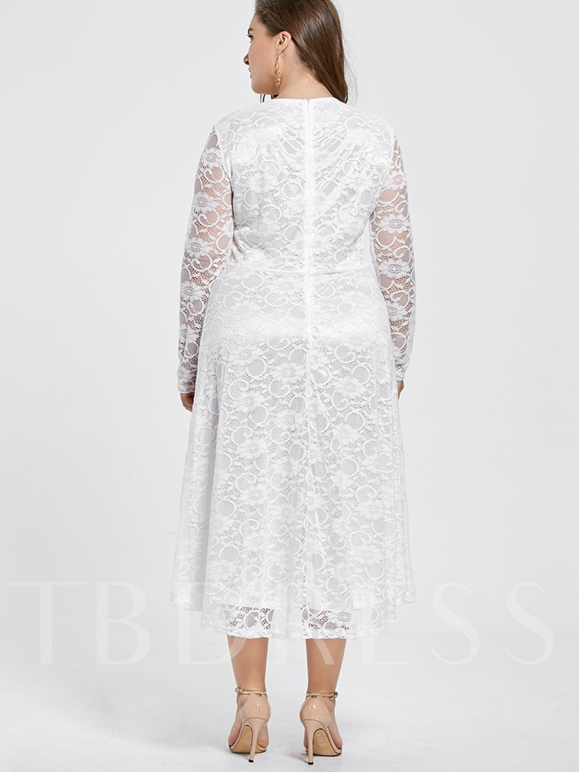 Long Sleeve Plus Size Tiered Women's Lace Dress