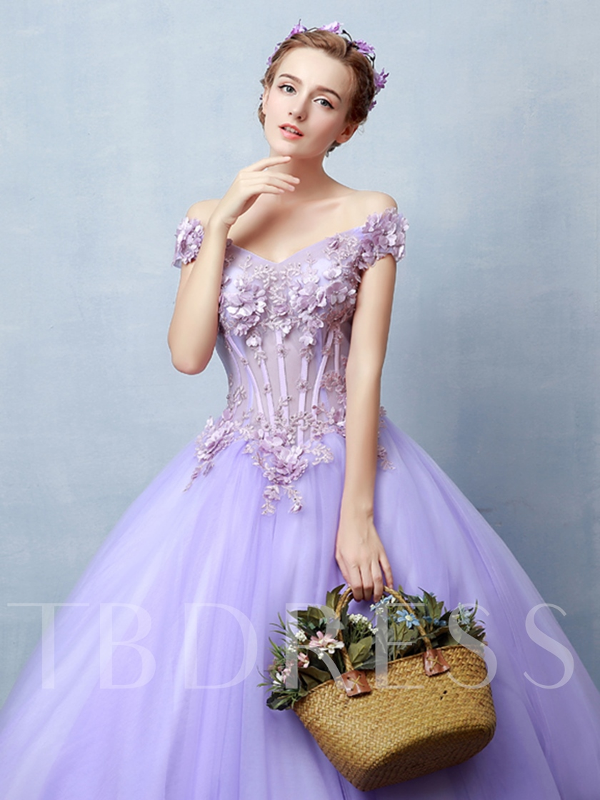 Appliques Flowers Off-the-Shoulder Cap Sleeves Quinceanera Dress