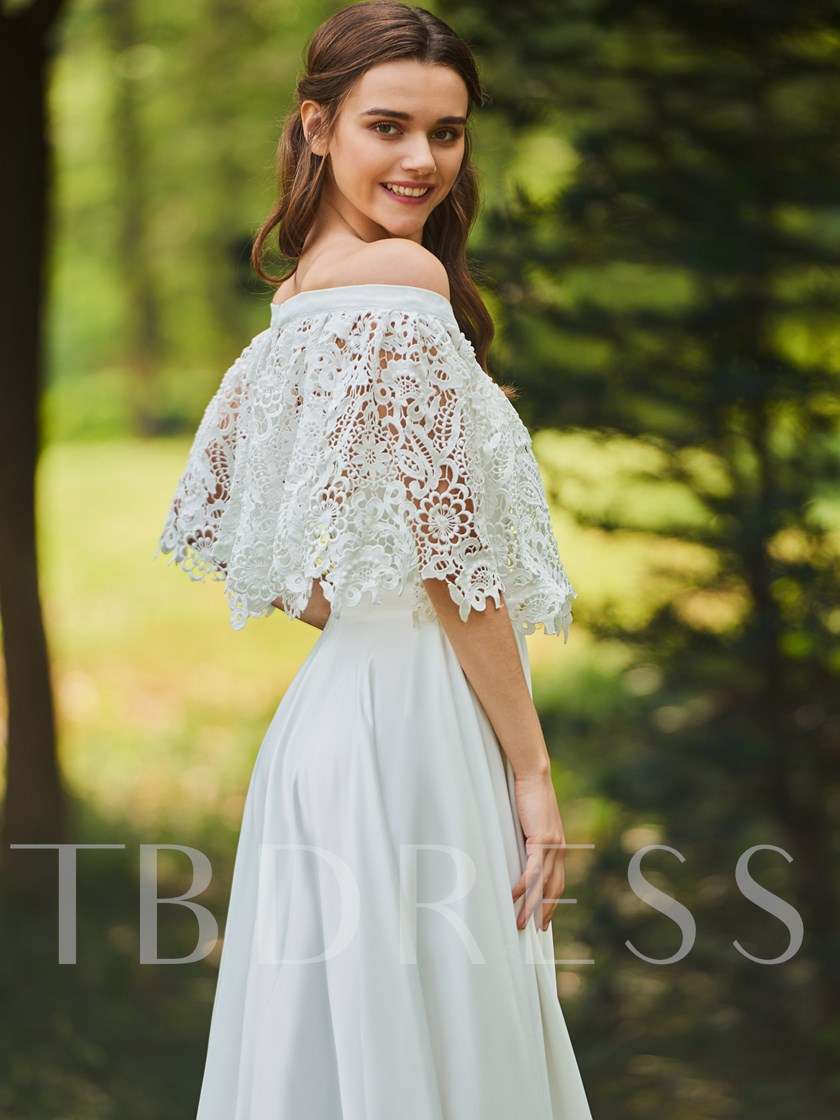 Off the Shoulder Lace Beach Wedding Dress