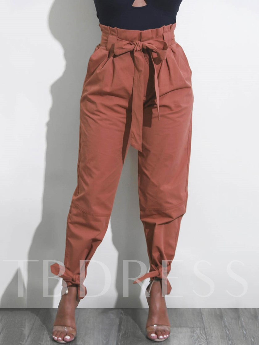 Pleated Lace-Up High Waist Women's Casual Pants