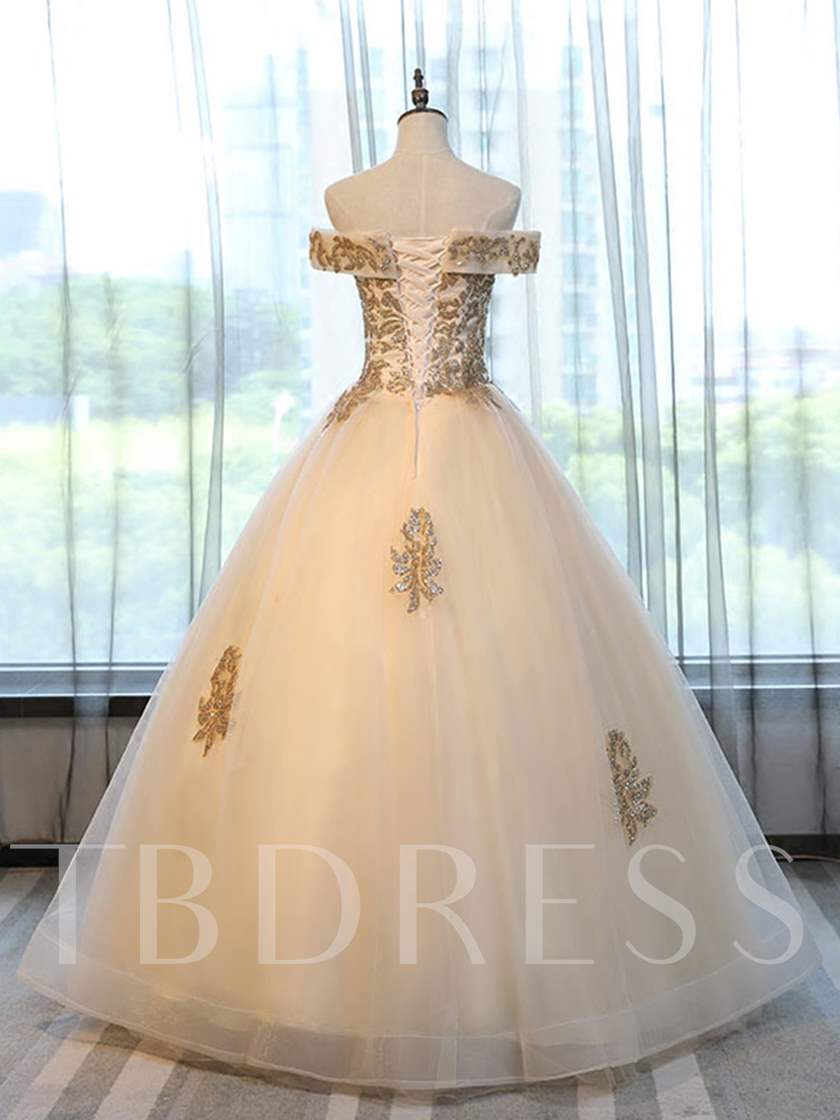 Off-the-Shoulder Appliques Short Sleeves Beading Quinceanera Dress