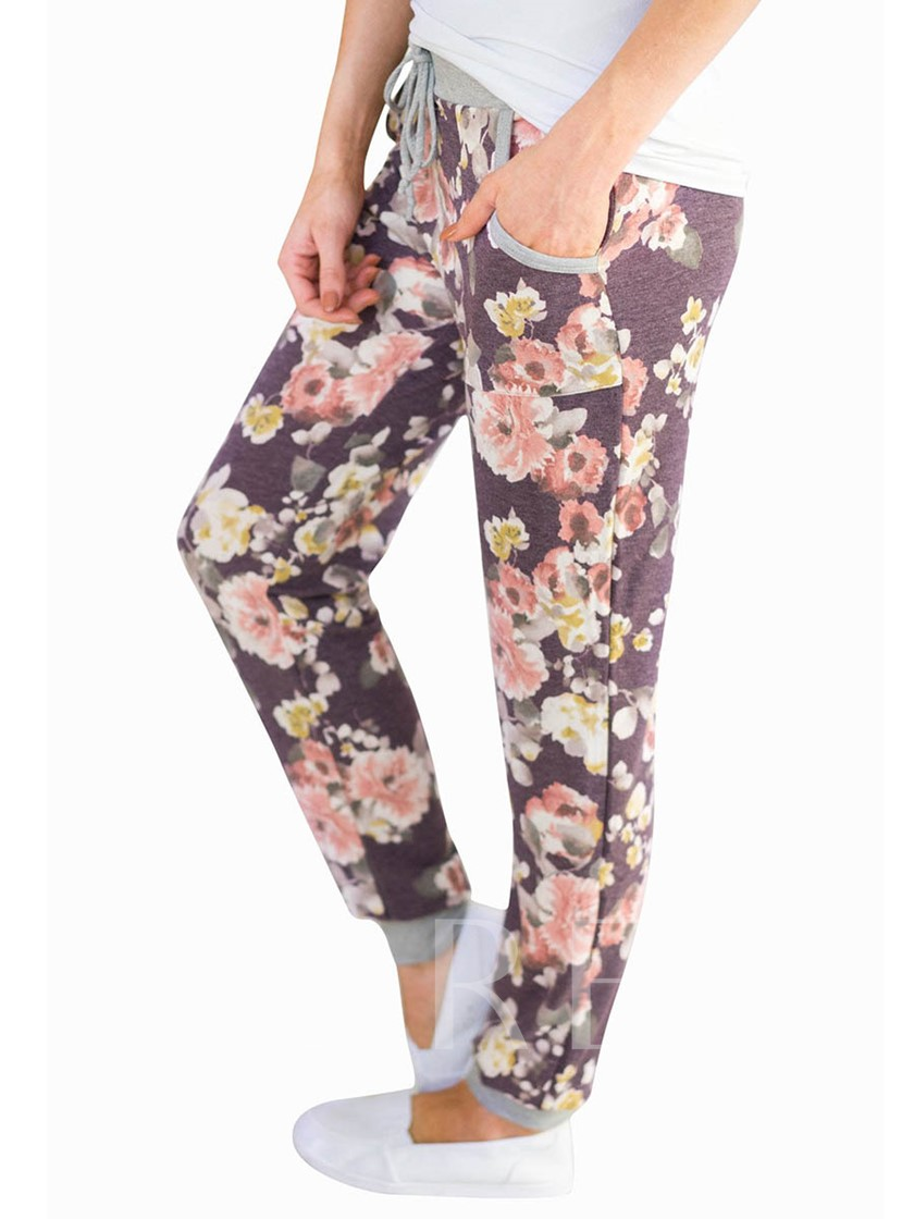 Floral Print Thin Pocket Women's Casual Pants