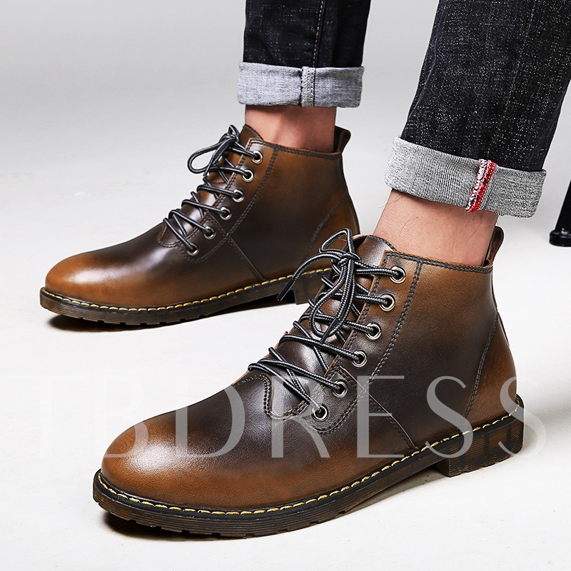 Lace Up Cowhells Fashion Martin Boots Men's