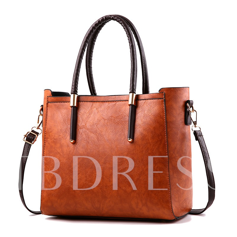 Concise Embossing Women Zipper Tote
