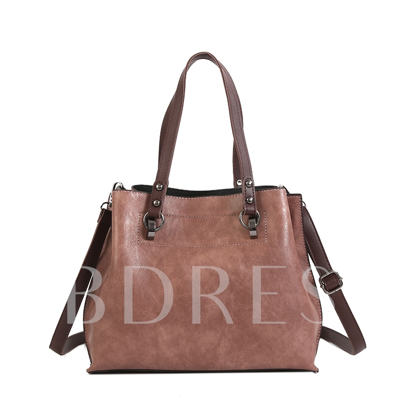 Casual Solid Color PU Women Tote
