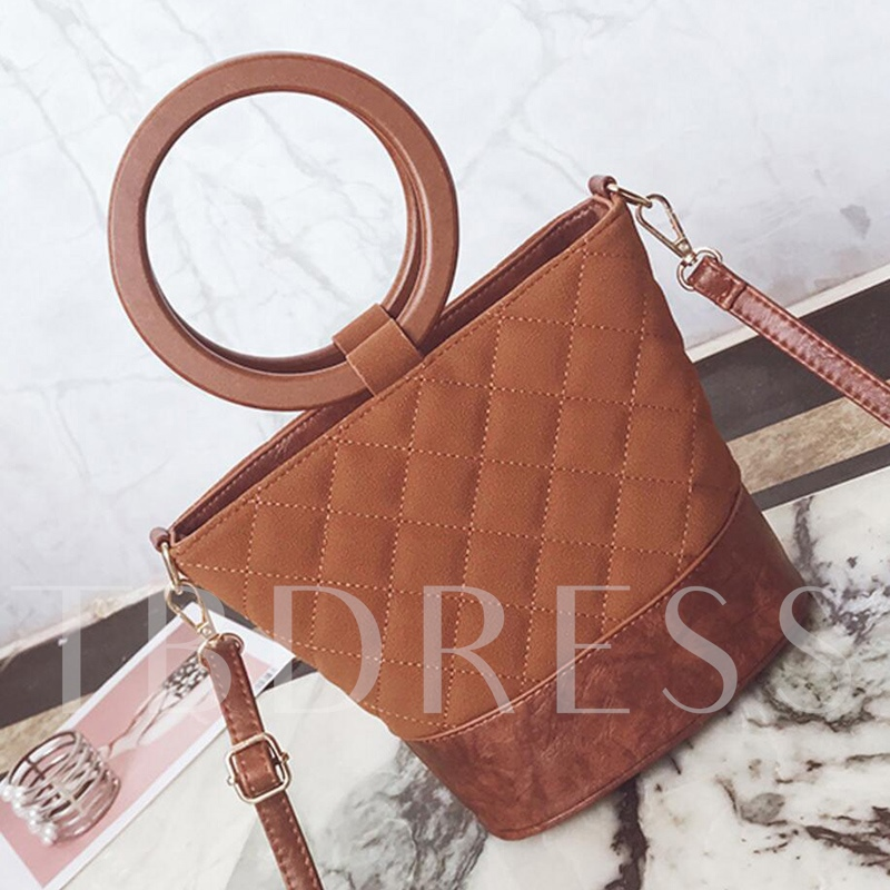 Circular Handle Quilted Lining Pattern Shoulder Bag