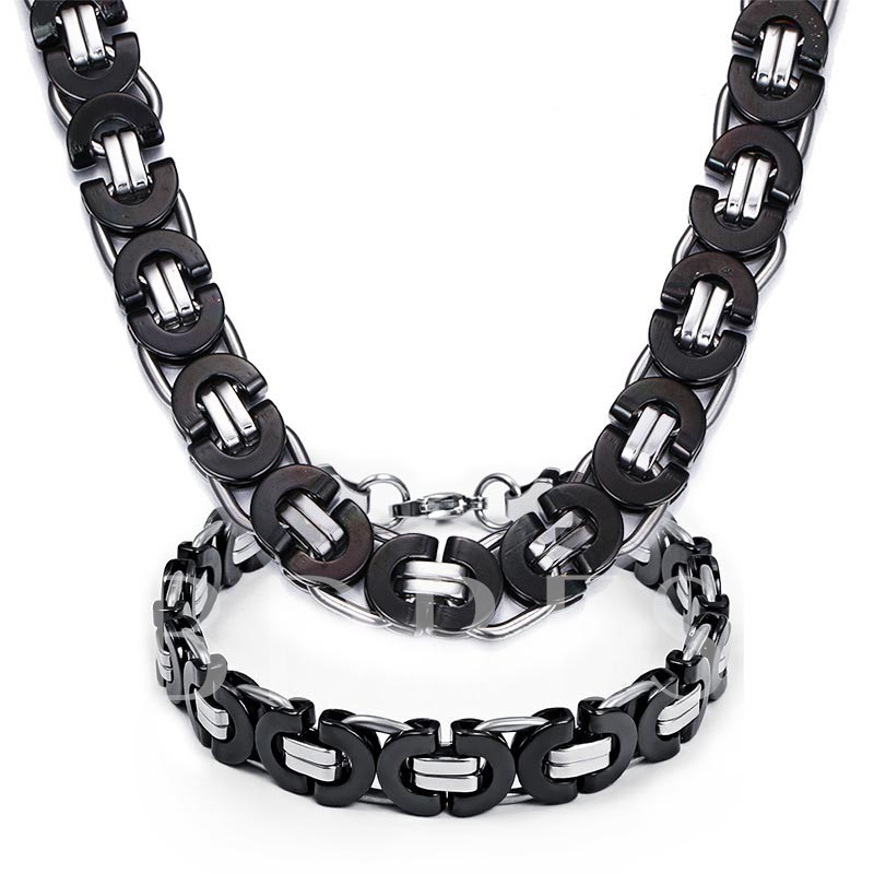 Patchwork Black Coating Titanium Steel African Men's Necklace
