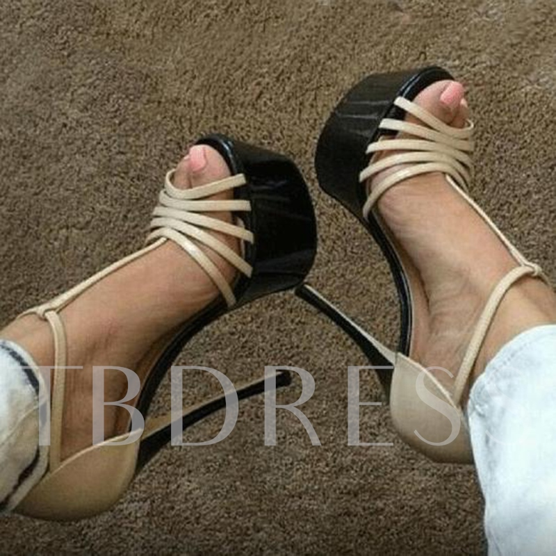 Platform T-Shaped Buckle High Heel Beige Sandals
