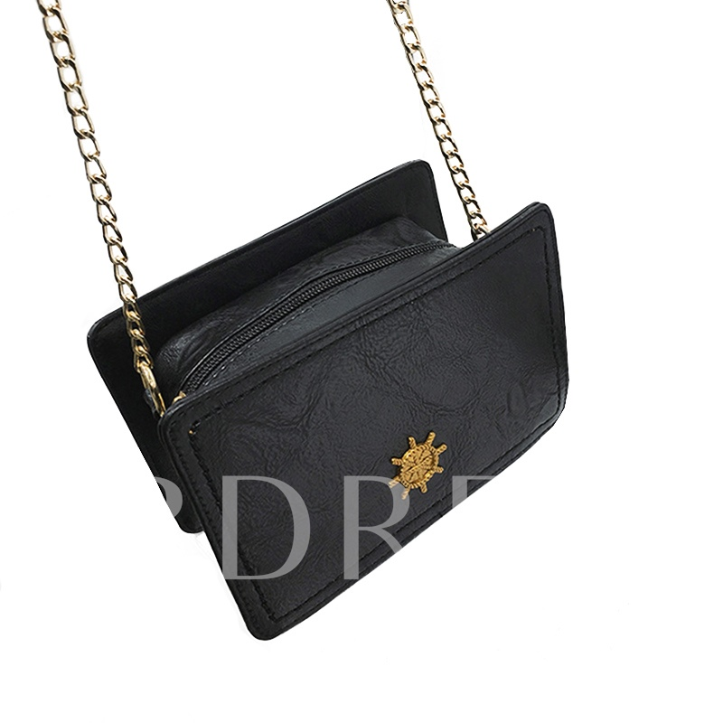 Simple Solid Color Zipper PU Crossbody Bag