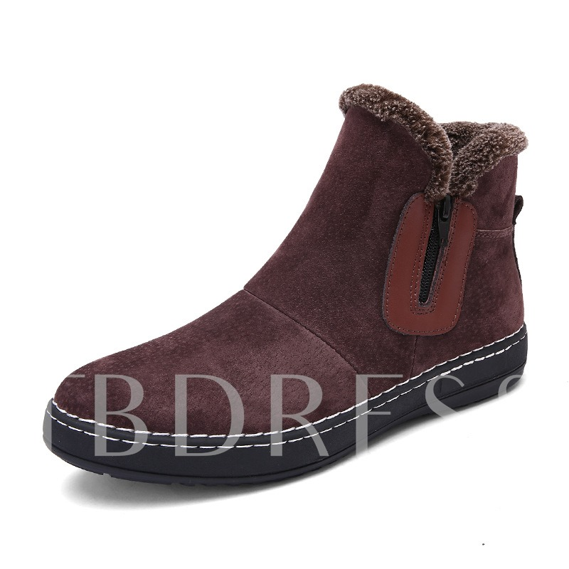 Plush Zipper Winter Boots Men's