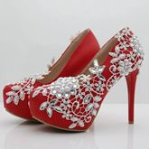 Red Wedding Shoes with Rhinestone White Lace for Women