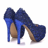 Lace Floral Rhinestone Magnificent Blue Wedding Shoes for Bridal