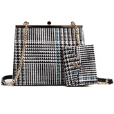 Chic Stripe Pattern Chain Satchel (Two Bags Set)