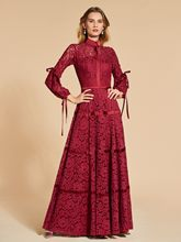 A-Line Lace 3/4 Length Sleeves High Neck Evening Dress