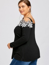 Loose Floral Plus Size Off Shoulder Women's T-Shirt