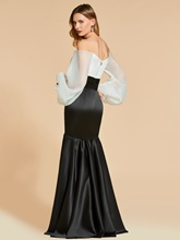 Mermaid Off-the-Shoulder White and Black Evening Dress