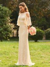Half Sleeves Cold Shoulder Lace Bridesmaid Dress