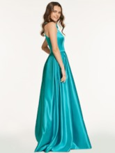 A-Line Appliques Jewel Long Prom Dress