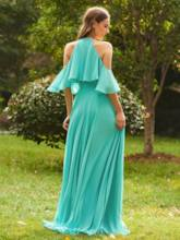 Beaded Ruffles Cold Shoulder Bridesmaid Dress