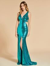 Reflective Dress Trumpet V-Neck Sequins Split-Front Evening Dress