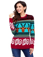 Color Block Letter Women's Ugly Christmas Sweater