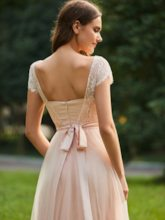 Short Sleeve Sashes Lace Bridesmaid Dress