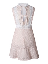 Light Apricot Lace up Open Back Women's Day Dress
