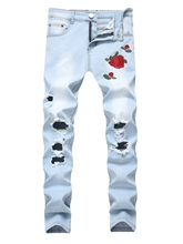 Rose Embroidery Floral Print Elastic Slim Fit Comfortable Men's Jeans