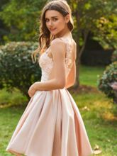 Lace One Shoulder Beaded Short Bridesmaid Dress