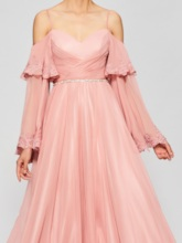 A-Line Spaghetti Straps Long Sleeves Appliques Prom Dress