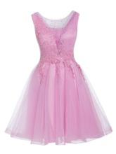 A-Line Appliques Beading Sashes Mini Homecoming Dress