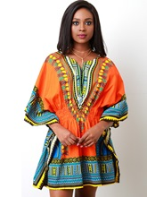 Orange Elastical Women's Dashiki Dress