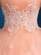 Appliques Strapless Beading Floor-Length Quinceanera Dress