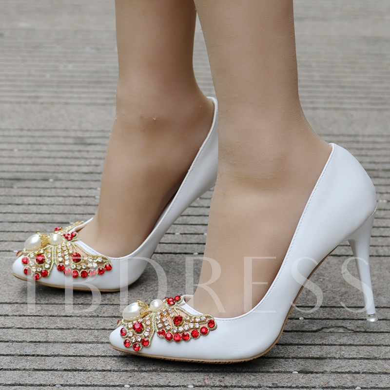 Image of Colorful Rhinestone Butterfly High Heel White Wedding Shoes