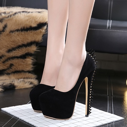 Rivet Punk Party Shoes Black High Heels for Women