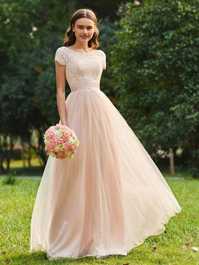 Short Sleeve Lace Bridesmaid Dress