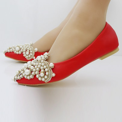 Rhinestone Pearl Slip On Flats Wedding Shoes for Bride