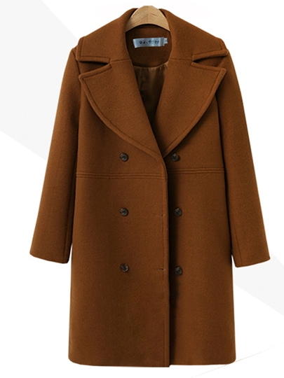Double-Breasted Notched Lapel Thick Women's Winter Trench Coat