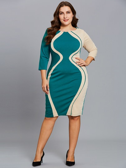 Back Zipper 3/4 Sleeve Plus Size Women's Bodycon Dress