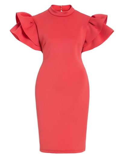Brick Red Open Back Women's Sheath Dress