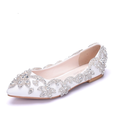 Block Heel Rhinestone White Flat Gorgeous Wedding Shoes for Women