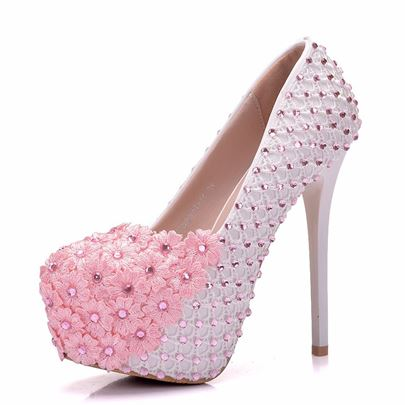 Pink Wedding Shoes with Appliques Rhinestone for Women