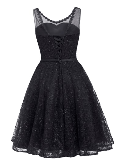V Neck Lace-Up Lace A Line Homecoming Dress